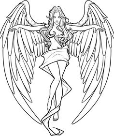 Well you will finish this step as well as this angel by drawing the other two layers of feathers. Description from dragoart.com. I searched for this on bing.com/images