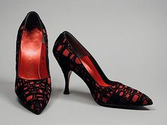 Pumps 1960, Italian, Made of rayon, leather, and satin