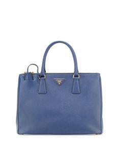 Medium+Saffiano+Double-Zip+Executive+Tote+Bag,+Blue+(Astrale)+by+Prada+at+Neiman+Marcus.