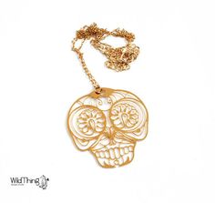 sugar+skull+necklace+sugar+skull+jewelry+day+of+by+WildThingStudio,+$58.00