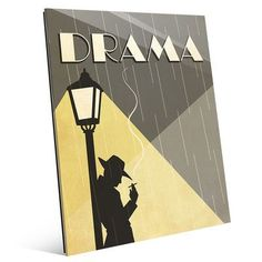 """Click Wall Art 'Drama Film' Graphic Art on Plaque Size: 20"""" H x 16"""" W x 1"""" D"""