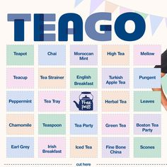 """Introducing """"Teago"""" – it's like bingo but #biggestmorningtea themed. Download from bit.ly/1NPPRvW, print out and play at your morning tea!"""