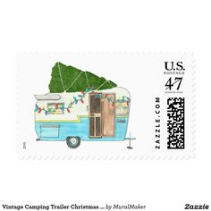 Vintage Camping Trailer Christmas Stamp