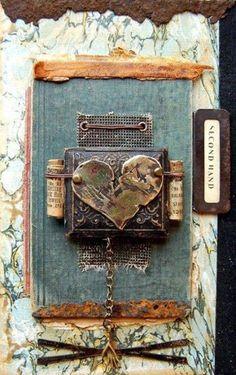 heart collage - repurposed materials