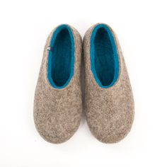 """Men's Handmade Felted Slippers in Natural Wool /""""Dual Natural"""" azure blue by Wooppers Woolen Slippers/ecological felt/custom made house shoe by Wooppers on Etsy"""