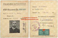 SS MEMBER'S IDENTIFICATION CARD. (SS-Ausweis)