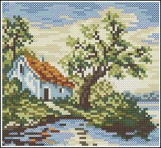 Скачать схемы вышивки Пейзажи Cross Stitch House, Cross Stitch Cards, Cross Stitch Embroidery, Cross Stitch Designs, Cross Stitch Patterns, Cross Stitch Landscape, Bead Art, Pixel Art, Needlepoint