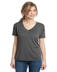 District Made Women's Modal Blend Relaxed V Neck Tee L Warm Grey [Apparel],