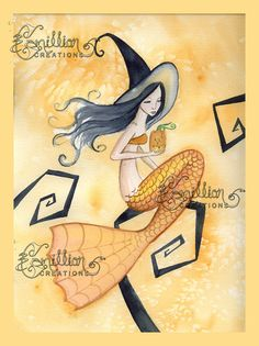 Little Pumpkin Mermaid  Witch from Original Watercolor Painting by Camille Grimshaw