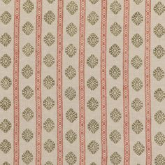 GP & J Baker Alma Red/Green Fabric - - Coromandel Small Prints Collection Drapery Fabric, Fabric Decor, Linen Fabric, Pattern Matching, Pattern Names, Gp&j Baker, Made To Measure Curtains, Fabric Houses, Curtain Designs