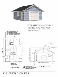 Two car garage plan 640 1 20 39 x 32 39 by behm design for 18 x 20 garage plans