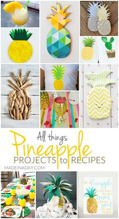 I love pineapples soo much! So I rounded up a great list of All Things Pineapple Projects to Recipes! There are a couple pineapple printables too! Pineapple Room, Pineapple Gifts, Pineapple Kitchen, Pineapple Recipes, Flamingo Party, Diy Craft Projects, Cute Crafts, Easy Crafts, Diy Masking Tape