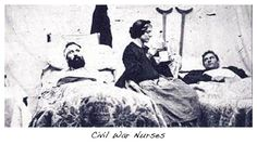"""Early in the Civil War, the nurses had no """"uniform."""" They wore brown, black or blue dresses, an apron, no hoops under their skirts, no ruffles or bows or jewelry."""