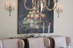 Exquisite dining room design in this Mediterranean Villa inspired home.  #chandelier