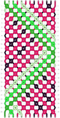 Normal friendship bracelet pattern added by watermelon summer fun zigzag. String Bracelet Patterns, Diy Bracelets Patterns, Diy Bracelets Easy, Thread Bracelets, Embroidery Bracelets, Woven Bracelets, Bracelet Crafts, Bracelet Designs, Diamond Bracelets