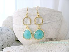 Mint Earrings With Crystal Gemstones,Crystal Earrings,Ocean Blue Earrings,Gold Dangle Earrings,Beach Jewelry,Wedding,Mint Bridesmaid Gifts by LetItBeLove on Etsy