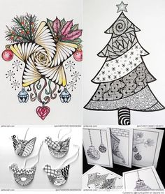 The NEW Ramblings of a Creative Mind: Happy Holidays and Wishes to All; A Zentangle Christmas card Tangle Doodle, Tangle Art, Zen Doodle, Doodle Art, Christmas Doodles, Christmas Drawing, Christmas Art, Christmas Patterns, Zentangle Drawings