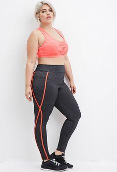 Plus Size Contrast-Trim Heathered Athletic Leggings