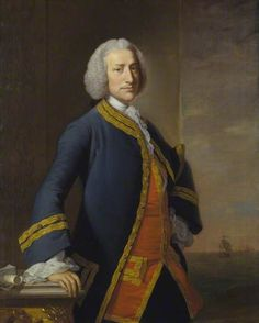 George Anson Baron Anson, Admiral of the Fleet by Thomas Hudson Married Elizabeth Hardwicke, whose father Philip was the Lord Chancellor of England. Date painted: before 1748 . Falmouth, Marina Real, Admiral Of The Fleet, Royal Navy Officer, Navy Uniforms, 18th Century Clothing, Maritime Museum, Nautical Art, Age
