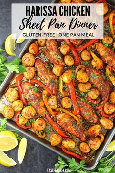 Harissa Chicken Sheet Pan Dinner is another easy flavorful chicken dinner ready in 20 minutes! Chicken tenders in the most delicious harissa sauce with garlic herbs spices sweet bell peppers & baby potatoes. Traybake Dinner, Healthy Dinner Recipes, Cooking Recipes, Healthy Meals, Delicious Recipes, Harissa Chicken, Best Chicken Recipes, Whole 30 Recipes, Free Recipes