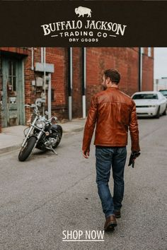 This men's vintage style tan leather jacket gives any outfit a classic rugged aesthetic. Keep it classy and casual — the more you wear this moto / racer jacket, the better it looks and feels. Tan Leather Jackets, Men's Leather, Brown Leather, Men's Vintage, Vintage Style, Vintage Fashion, Keep It Classy, Moto Jacket, Feels