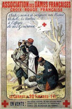 JONAS Association des Dames Françaises Croix Rouge Française. Aidez nous à soigner nos bléssés, achetez des timbres à l'effigie de nos Généraux. Lapina Paris 1 Affiche Non-Entoilée B.E. B + Taches d'humidité. Déchirures. / Water stains. Tears. 121.5 x 77 cm GUERRE 14 - 18 / 1914 - 1918 WAR