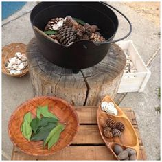 """A pot of delicious stew is bubbling away on the stovetop! at St Helens District High School Kindergarten ≈≈Perhaps in conjunction with book """"Wombat Stew"""". Outdoor Education, Outdoor Learning, Outdoor Play, Art Education, Wombat Stew, Possum Magic, Backyard Playground, Playground Ideas, Mud Kitchen"""