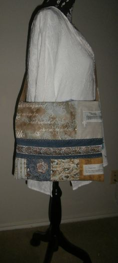 Large Teal Blue and Brown Handmade Denim by CrossMyHeartBags