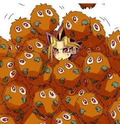 Yami has a lot of kuribos! He's practically buried in them.