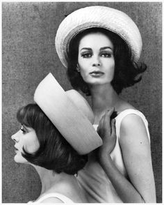 Marie Lise Gres and unidentified model in straw rollers, photo by John french, 1960's
