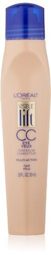 Product review for L'Oreal Paris Visible Lift CC Eye Concealer, Fair, 0.33 Fluid Ounce  - The new Visible Lift CC Eye Concelear is our newest innovation in anti-aging makeup. This multi-action concealer rolls away signs of fatigue and dark circles around the eye area to keep you looking more youthful, and wide-awake. Available in 3 shades, Fair, Light and Medium.