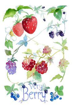 Strawberries Watercolor by Pamela Harnois Art
