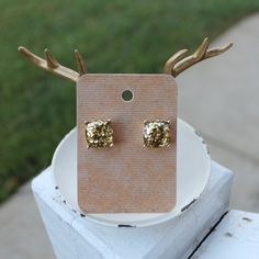 Gold Glitter Studs Beautiful gold glitter square stud earrings. Other colors available in my closet. Price firm unless bundled.  Red & Moon Jewelry Earrings