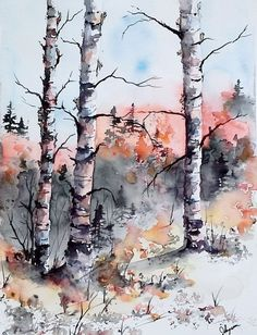 Watercolor Original Painting Maine Landscape by pinetreeart
