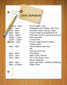 Daily Schedule for Muslim SAHM