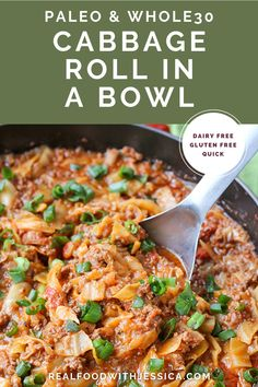 Paleo Whole30 Cabbage Roll in a Bowl is a fun way to enjoy cabbage rolls without all the work. A quick, healthy dinner that is gluten free, dairy free, and so delicious! Instant Pot and stove-top instructions.#paleo #healthy #easyrecipe #dairyfree | realfoodwithjessica.com @realfoodwithjessica Easy Paleo Dinner Recipes, Best Paleo Recipes, Whole 30 Recipes, Keto Dinner, Clean Eating Recipes, Real Food Recipes, Dairy Free, Gluten Free, Unprocessed Food