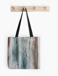 Painted Door Tote-Bag - JUSTART on Redbubble #justart #rb #redbubble #totebag #bag #abstract #blue #green #aqua #white #brown #accessory
