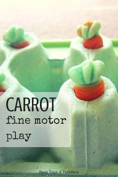 Plant carrots and work on fine motor skills! Easy to set up carrot fine motor play for kids. Fine Motor Activities For Kids, Activities For 2 Year Olds, Play Based Learning, Preschool Learning Activities, Easter Activities, Summer Activities For Kids, Infant Activities, Toddler Preschool, Montessori