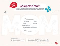 A day dedicated to celebrating moms is right around the corner. Help your kids personalize these cards and make mom feel extra special on Mother's Day for all of (and the big things) she does every day. Cow Appreciation Day, Mothers Day Crafts, Fun Ideas, Corner, Let It Be, Mom, Feelings, Celebrities, How To Make