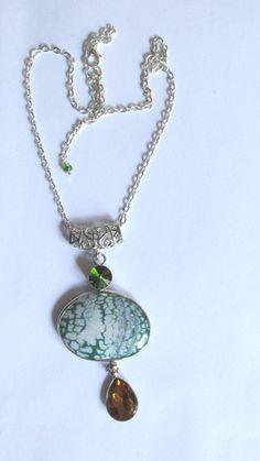 Green Dragonvein Agate Necklace Topaz Green by IsleOfCraftin, $19.00 #pcfteam