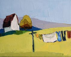 Original Oil Painting Clothesline IV 8x10 by DonnaWalker on Etsy, $125.00