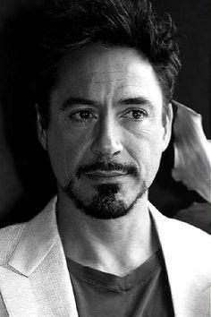 Tony Stark (Robert Downey Jr.) in black and white