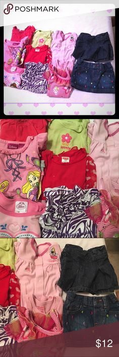 🎀🎀18 months baby girl clothing lot This 18 months baby girl clothes includes all of the following :  1: sleeper  6: tops  1: dress 1: onesie  2: denim skirts   11: pieces Matching Sets