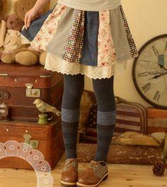 Mori style patchwork skirt
