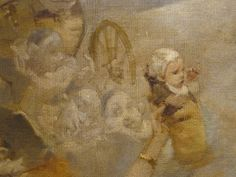 WILLETTE Adolphe,1884 - Parce Domine - Detail 056 - Français : Un bébé tendu au-dessus de la foule.  English: - A baby hold up above the crowd. - Montmartre -
