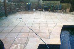 Outdoor Spaces, Outdoor Decor, Under Construction, Tile Floor, Sidewalk, Patio, Flooring, Home Decor, Outdoor Living Spaces