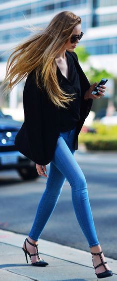 long locks + denim + black valentinos