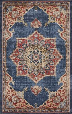 Unique Loom Utopia Collection Traditional Medallion Vintage Warm Tones Dark Blue Area Rug 0 x Navy Blue Area Rug, Blue Area Rugs, Living Room Red, Red Rugs, Rugs Online, Carpet Runner, Animals For Kids, Red And Blue, Dark Blue