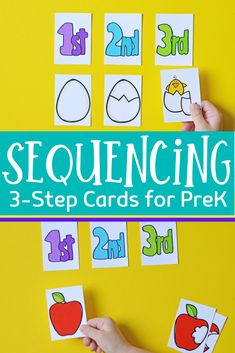 Kids will begin to make sense of the order in which events happen when you introduce them to sequencing with these 3 step sequencing cards for kids. Preschool At Home, Preschool Learning, Preschool Crafts, Preschool Readiness, Kindergarten Classroom, Toddler Crafts, Preschool Ideas, Fun Activities For Toddlers, Fun Games For Kids