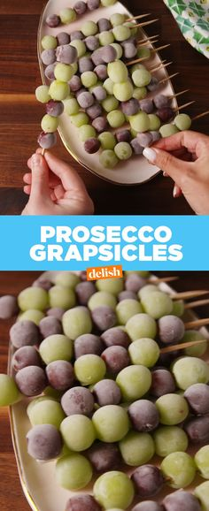 Prosecco Grapesicles Are The Boozy Summer Snack You Need — Delish is part of food_drink - Frozen grapes have got nothin' on these Snacks Für Party, Appetizers For Party, Beach Snacks, Fruit Snacks, Party Fun, Party Ideas, Cotton Candy Grapes, Frozen Grapes, Frozen Fruit